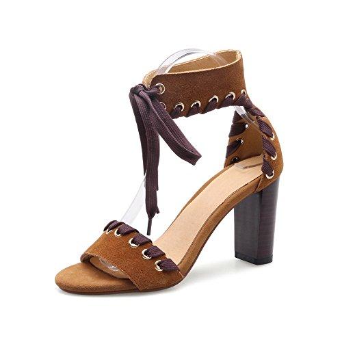 BalaMasa Womens Sandals Peep-Toe Cold Lining Studded Huarache Urethane Sandals ASL04482 Brown 0qQIG