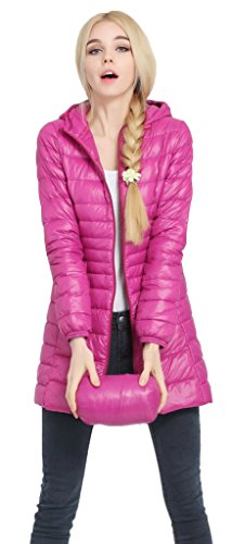 - Sawadikaa Women's Lightweight Hooded Long Down Outerwear Puffer Jacket Coat Windbreaker Outdoor Quilted Down Parka Jacket Rose X-Large