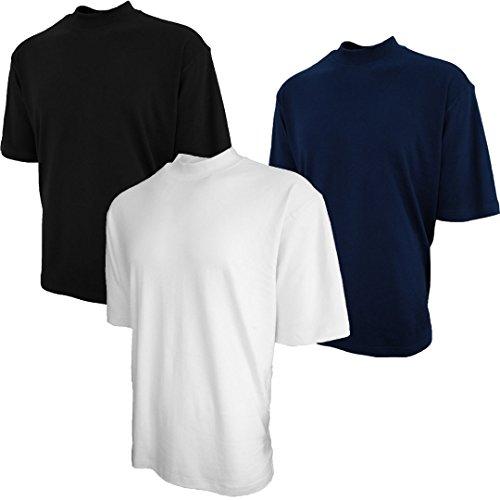 (Good Life Brand 100% Cotton Mock Turtleneck Shirt Short Sleeve Pre-Shrunk 3-Pack (Medium, Black/White/Navy)