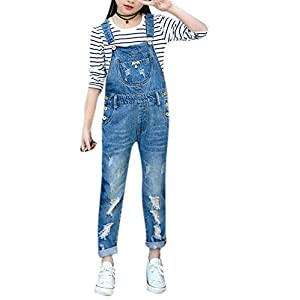 Girls Big Kids Cute Long Distressed Denim Overalls Blue Jeans BF Style Suspender Shortall 130 Blue, 6-7 Years