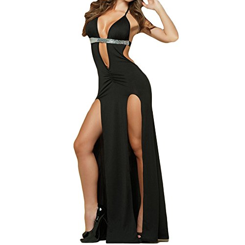 Clearance  Christmas Womens Open Back Halter Lingerie,Sequined Trim Sexy Deep V-neck Long Skirt Nightwear With G-string (Black, S)