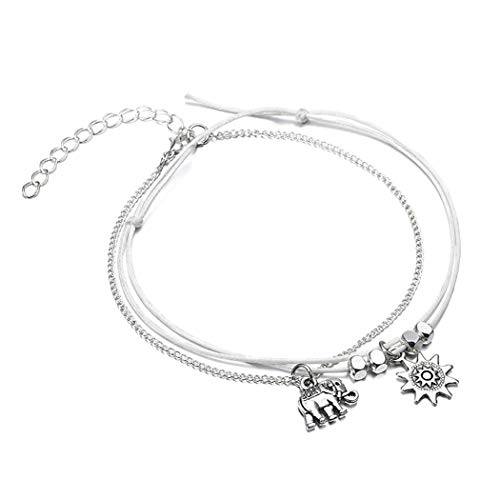 Aukmla Beaded Anklet Lucky Elephant Ankle Bracelet Silver Charm Foot Chain on Adjustable White Cord Barefoot Sandal for Women and Girls ()