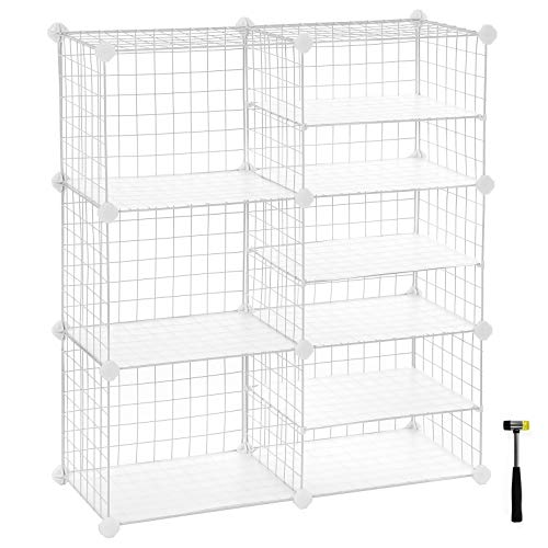 SONGMICS Cube Storage Unit, Interlocking Metal Wire Organizer with Divider Design, Modular Cabinet, Bookcase for Closet Bedroom Kid's Room, 32.7 L x 12.2 W x 36.6 H Inches, White ULPI36W (Bookcase Modular White)