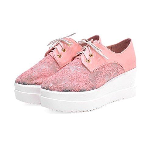 Amoonyfashion Kvinnor Patent Läder Fyrkantiga Stängd Tå Kattunge-häl Slip-fasta Pumpar-shoes Rosa
