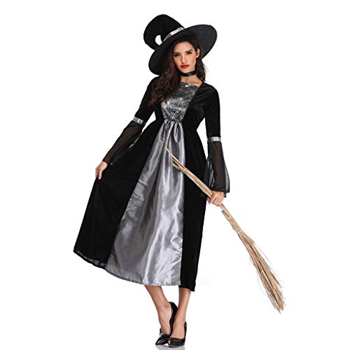 Zlolia Women's Patchwork Masquerade Witch Dress Halloween Cosplay Costume Set with Hat Silver