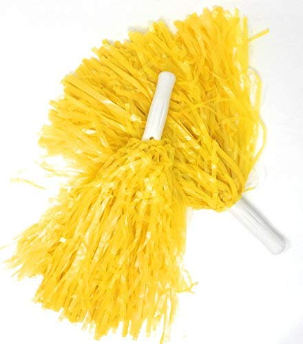 Sea View Treasures Bulk 12 Pack Deluxe Cheerleading Pom Poms - Ideal for Team Spirit, Corporate Events, and Tailgating (Yellow) ()