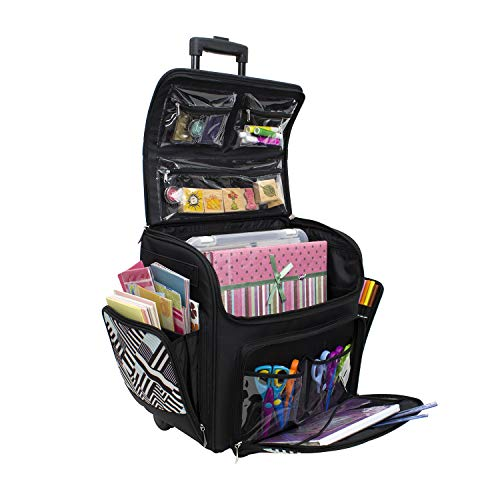 Everything Mary with Deluxe Teal Geometric Rolling Organizer Papercrafting Storage Tote for Paper,...