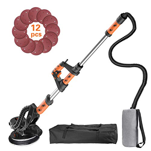 Drywall Sander, Tacklife 6.5A Variable Speed 500-1800 RPM Automatic Vacuum System Electric drywall sander with LED Light and 12 Sanding Discs, Extendable Handle 1.6-1.9m, 15ft Power Cord PDS03A