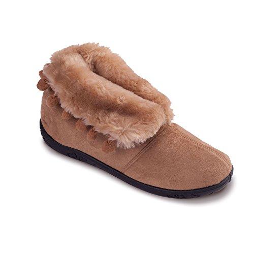 Padders Damen Microsuede Slipper Eskimo   Mit Fluffy, Futter aus Kunstpelz für kältere Nächte   Extra Breit EE Passmaß   20mm Ferse Taupe / Camel
