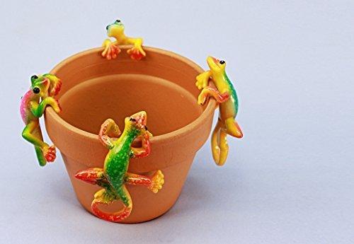 Gecko Pot Hanger - Glossy Yellow Body Gecko Pot Hangers (Set of 4) Wholesale Lot of 6 Sets (6)
