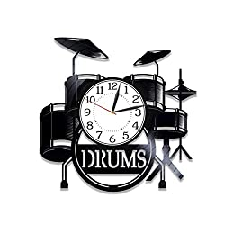 Kovides Drums Birthday Gift Idea Musical Instrument Vinyl Clock 12 Inch for Man and Woman Music Original Home Decor Drum Kit Vinyl Record Wall Clock Musical Instrument Handmade Clock