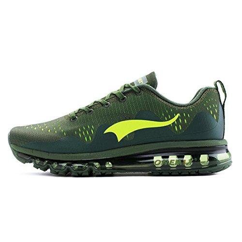 Onemix Hommes Chaussures De Course D'air Unique Profil Sport Fitness Espadrilles Coureurs Noir Vert