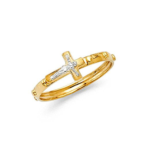 Yellow Gold Rosary Ring - FB Jewels 14K Yellow And White Two Tone Gold Rosary Crucifix Cross Religious Eternity Anniversary Wedding Ring Band Size 8