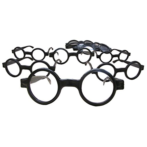Dazzling Toys Wizard Glasses Round Frame - Great Accessory for Wizard - Harry Potter - Halloween - Birthday Party, Posing Props Costume Supplies - 8 Pack