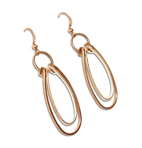 Handmade Mixed Metal Copper Earrings Silver Double Hoop Rings Hammered Bohemian Funk Punk Hand Wrapped Wire Ezina Designs