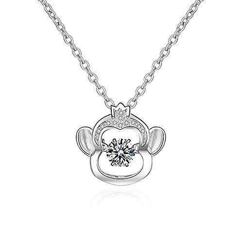 (ATDMEI Monkey Pendant Necklace Sterling Silver for Women Girls Zircon Chinese Zodiac Jewelry Gifts)