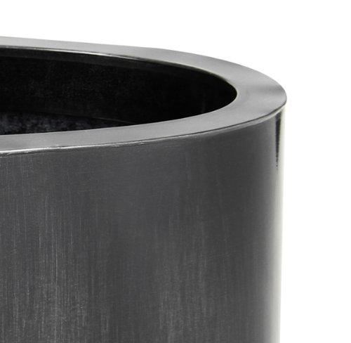 Cache-Pot Oval Bas Gris Fonc/é Zinc Galvanis/é 60 cm