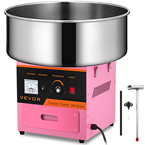 VEVOR Candy Floss Maker 20.5 Inch Commercial Cotton Candy Machine Stainless Steel for Various Parties