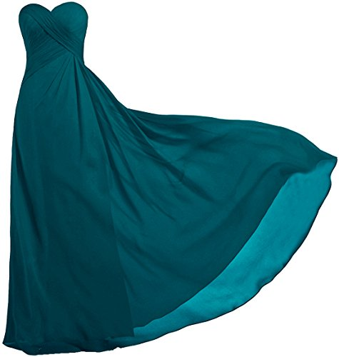ANTS Women's Strapless Long Bridesmaid Dresses Chiffon Wedding Prom Gown Size 12 US Teal