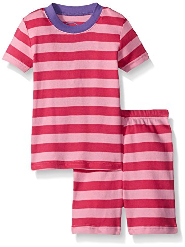 Sara's Prints Little Girls' Soft All Cotton Fitted Short Pajama Set, Light Pink Stripe, 7