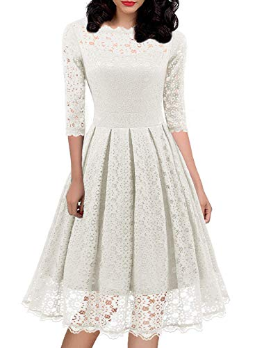 Women's 1950s Vintage Floral Lace Half Sleeve Cocktail Party Casual Swing Dress 595 (L, White)