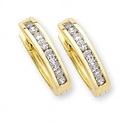 e3e1d239a85a25 Taurus: Apr-May 9ct Yellow Gold Huggie Earrings 0.20ct PK TTLB Round  Brilliant Diamond prot_9HER20: Amazon.co.uk: Jewellery