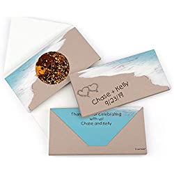 Beach Themed Wedding Favor Candy Personalized Cookie Dough Gourmet Infused Chocolate Bars (3.5oz) - 12 Pack