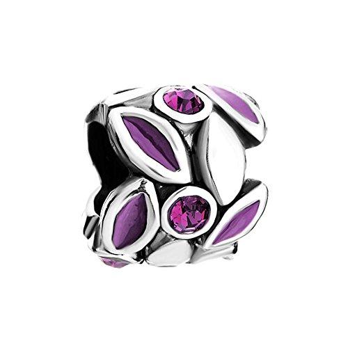 Charmed Craft Purple Petal Flower Charms Crystal Enamel Beads Charm