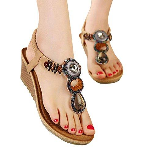 Vintage Sandals,Clearance! AgrinTol Summer Fashion Vintage Beads Sandals Beach (8, Khaki) (24'd Cabinets)