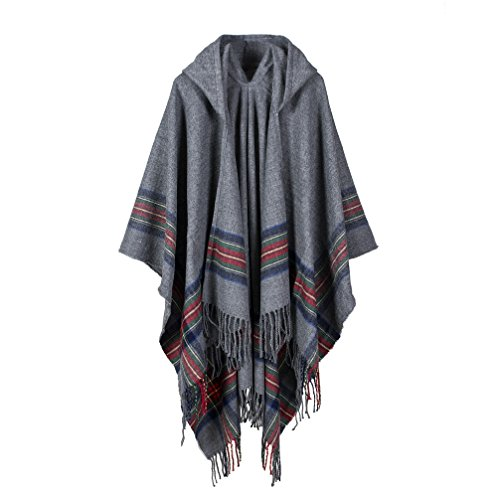 Bakerdani Poncho Capes with Hood Pashmina Cardigans Blanket Shawls with Tassels