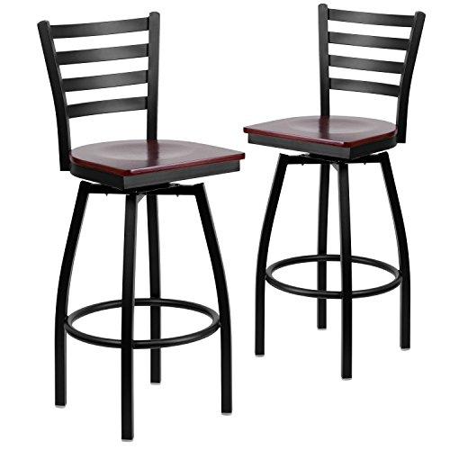 . HERCULES Series Black Ladder Back Swivel Metal Barstool - Mahogany Wood Seat ()