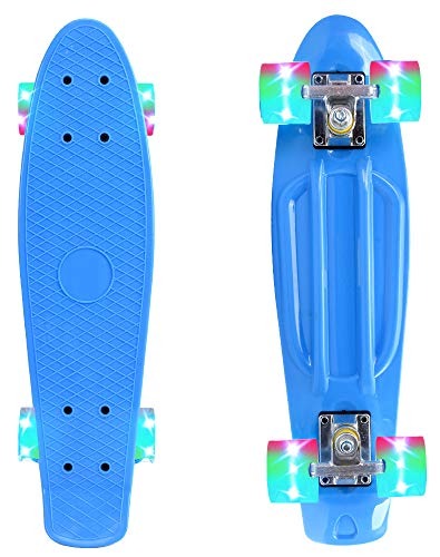 - ChromeWheels Skateboard 22 inch Complete Skate Board Mini Cruiser with LED Light Up Wheels for Kids Boys Youths Beginners, Blue