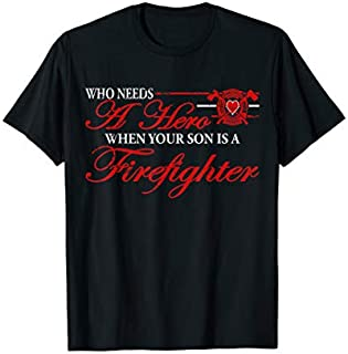 Cool gift Firefighter  Hero-My Son The Firefighter Is My Hero Women Long Sleeve Funny Shirt