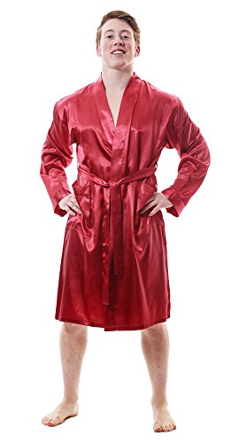 Red Robe Mens (Men Satin Robes with Front Pocket, Up2date Fashion Style#Gwn-51 (M,)
