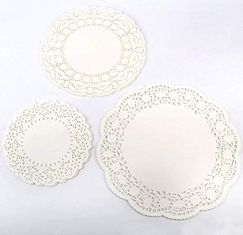 YEHAM 6.5 Inch, 8.5 Inch and 10.5 Inch White Round Lace Paper Doilies Cake Packaging Pads Doyleys,Vintage Coasters -- Each sizes of 36 PCS