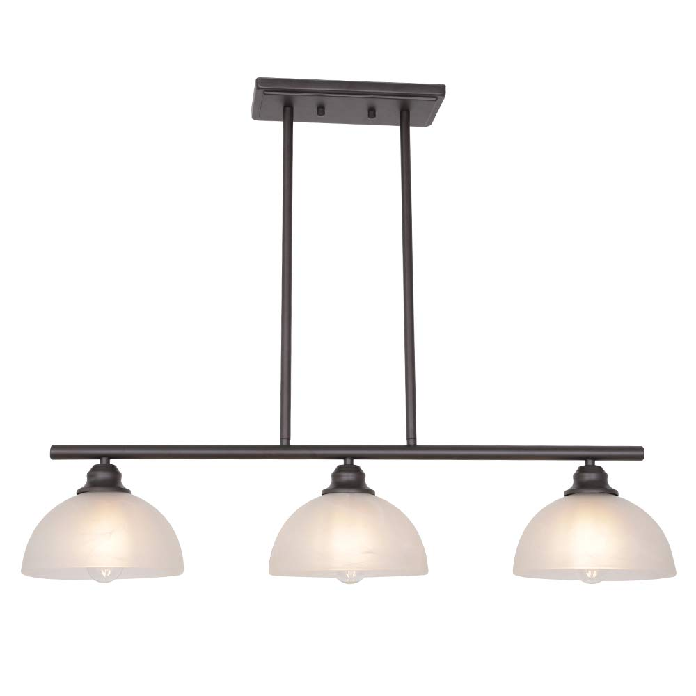 Tuluce modern chandelier oil rubbed bronze alabaster glass rustic pendant lighting 3 light linear ceiling lighting for kitchen dining room bedroom foyer