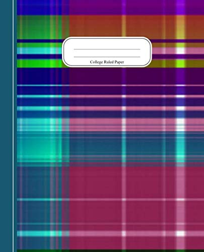 Modern Colorful Stripe & Checks: Composition Exercise Notebook Journal (School Work Books College Ruled Paper)