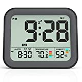 KUCOOLE Small Battery Operated Digital Alarm Clocks for Bedrooms, Simple Travel Alarm Clock with Indoor Thermometer, Hygrometer, Snooze, Dual Alarm, Loud Buzzer - Black