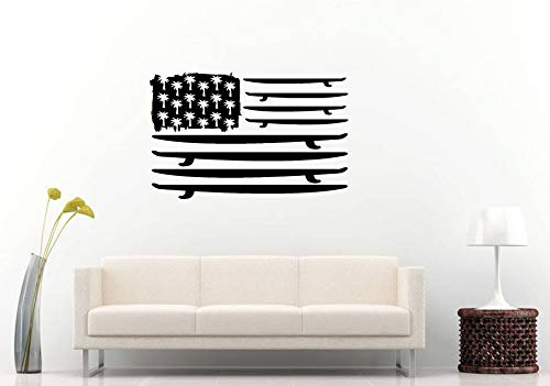 AdecalsNew Wall Decals Cute-United States USA Flag Surf Boards Palm Trees Ocean Sea Nautical Room Wall Sticker Decal Vinyl Mural Decor Art - Made in USA-Fast delivery