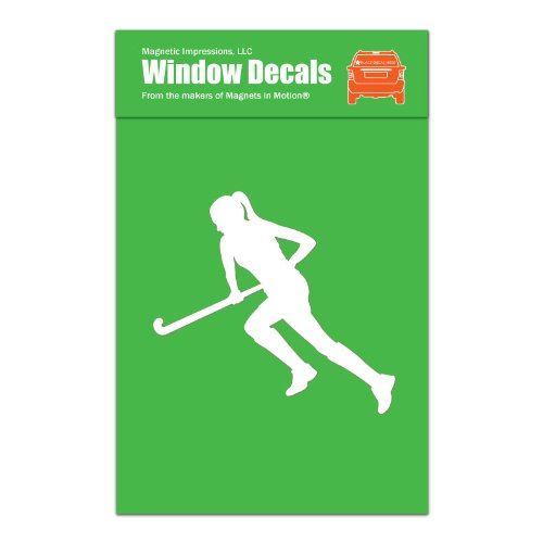 Magnetic Impressions Field Hockey Player Run Car Window Decal White