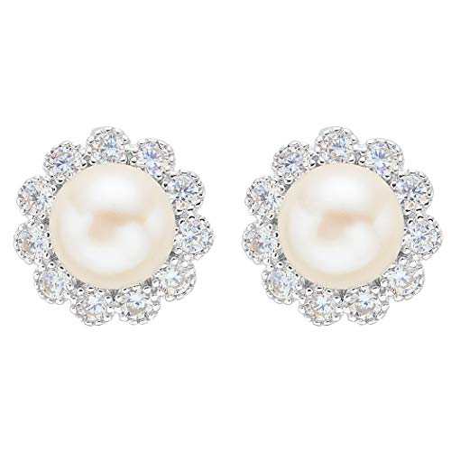 EVER FAITH 925 Sterling Silver 8MM AAA Freshwater Cultured Pearl CZ Elegant Sunflower Stud Earrings ()