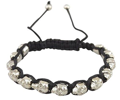 veenajo-halloween-alloy-braid-wrap-bracelet-fashion-skull-beads-adjustable-banglesilver