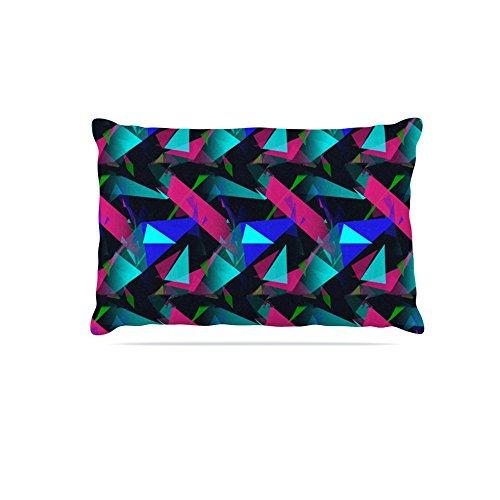 Kess InHouse Alison Coxon Confetti Triangles Dark  Fleece Dog Bed, 50 by 60 , Magenta bluee