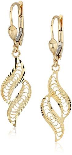 14k Yellow Gold Filigree Drop Dangle Earrings