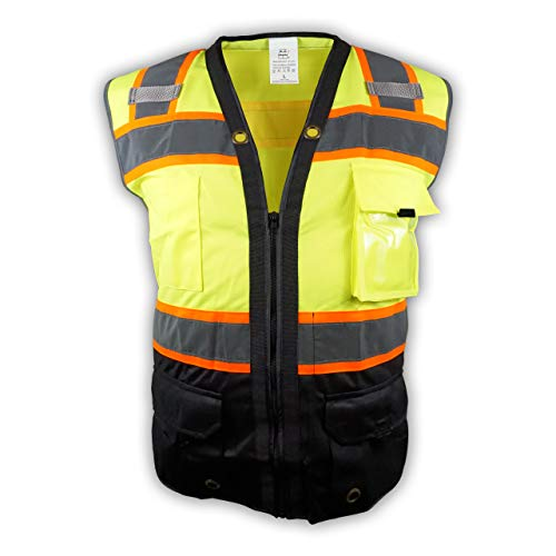 Surveyor Black/Lime Two Tones Safety Vest, ANSI/ISEA 107-2015/ Photo ID Pocket (3X) ()