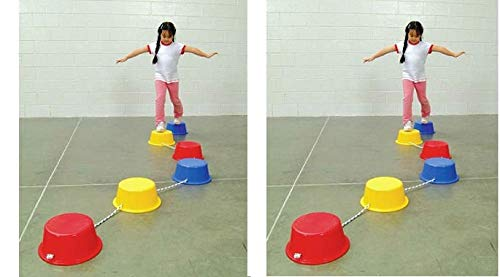 School Smart Stepping Buckets Balance Builders - 5 x 12 inch - Set of 6-2 Each of 3 Primary Colors (2 X Set of 6)