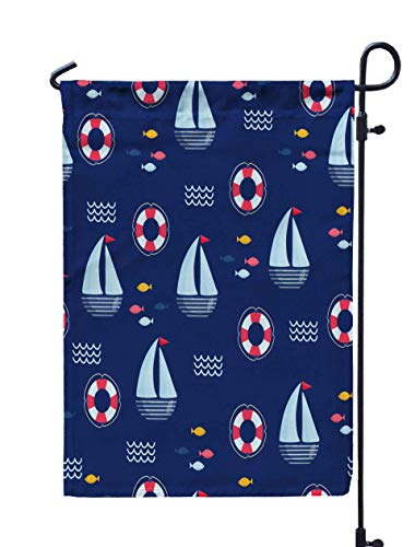 HerysTa Spring Garden Flag, Decorative Yard Farmhouse Holiday Banner 12 x 18 inches Nautical Pattern Ship Bright Cartoon Greeting Card Fabric Wallpaper Double-Sided Seasonal Garden Flags