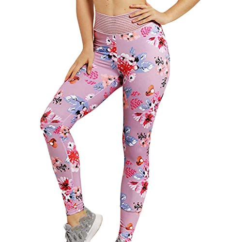 LiLiMeng Fahion Sexy Ladies Fitness Yoga Flower Print High Waist Leggings Running Training Tight Skinny Slim Yoga Pants Pink