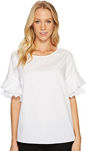 CeCe Women's Tiered Ruffle Sleeve Poplin Shirt Ultra White Shirt Poplin Ruffle Top