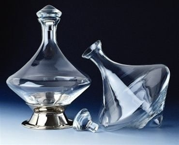 - Orbital Decanter with Silver Plated Base and Crystal Stopper. (Ship USA mainland only)